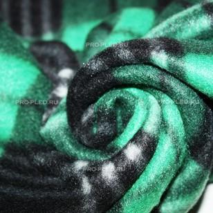Флисовый плед зеленый в клетку